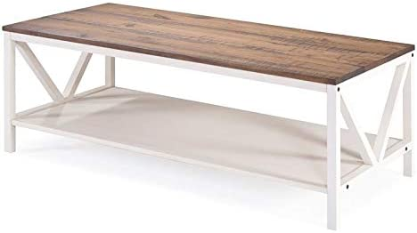 Walker Edison Furniture Company 48 Distressed Farmhouse Coffee Table – Reclaimed Barnwood White Wash