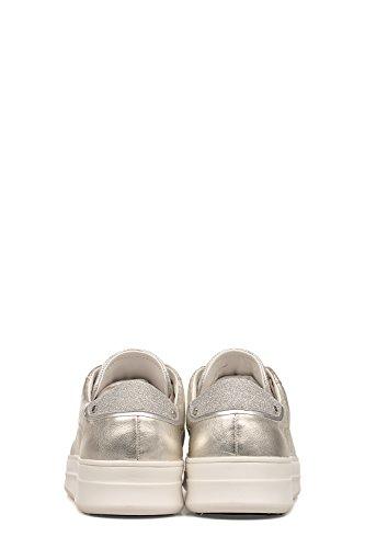 Kriminalitet London Dame 25602ks126 Silber Leder Sneakers 7xDfB9k