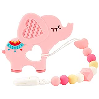 Baby Teething Toys,Silicone Elephant Design Teether with Relief Beads Binky Holder and Pacifier Clips for Toddlers & Infant (Pink)