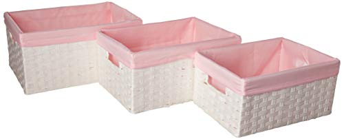 Redmon Three PC Basket Set, White/Pink, 3 Count