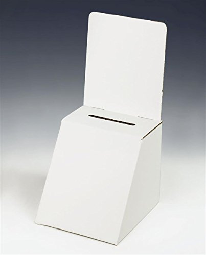 Displays2go White Cardboard Ballot Box, Set of 25 with Removable Header for Countertop Use (RBWC57)]()