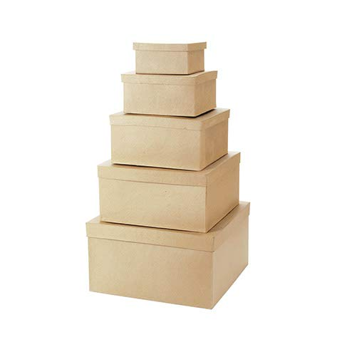 Value Pack Paper Mache Square Box Set (12 Pack)