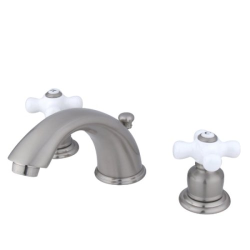 Kingston Brass KB968PX Victorian Widespread Lavatory Faucet with Porcelain Cross Handle, Brushed Nickel