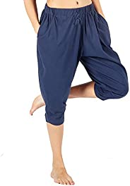 WEWINK CUKOO Women Cotton Capri Pajama Pants Cropped Harem Lounge Pants with Pockets