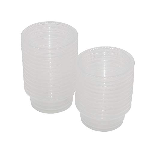 SLSON Small Gecko Food and Water Cups 100 ct Plastic Feeder Cups for Reptile 0.5oz Feeding Bowls for Crested Gecko Lizard and Other Small Pet