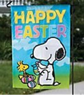 Amazoncom HAPPY EASTER SNOOPY WOODSTOCK PEANUTS Garden Flag 12