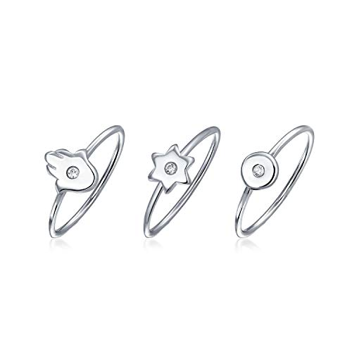 3 Set Minimalist CZ Sterling Silver Midi Knuckle Stackable Disc Spiritual Star Hamsa Hand Ring 1MM Band For Teen Women