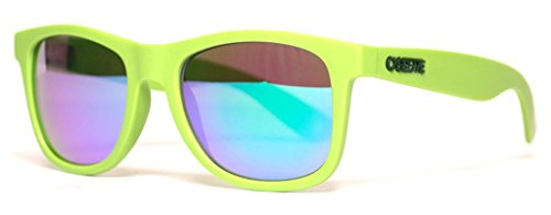 The Cassette Company Unisex 728795488970 Not Polarized OGLX/Matte Mirror Lens Sunglasses, Lime - Cassette Sunglasses