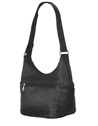 Paul & Taylor Genuine Leather Classic Hobo Shoulder Bag 1649 (Black) by Paul & Taylor