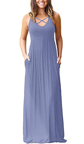 LILBETTER Women Long Sleeve Loose Plain Maxi Dresses Casual Long Dresses with Pockets (Sleeveless Purple Grey,L)