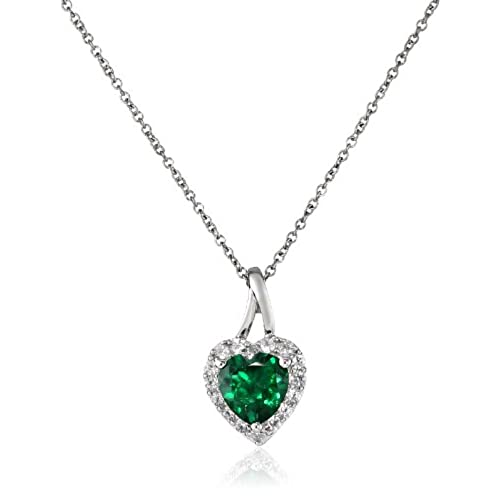 Emerald heart necklace amazon sterling silver created emerald and created white sapphire heart pendant necklace 18 aloadofball Images