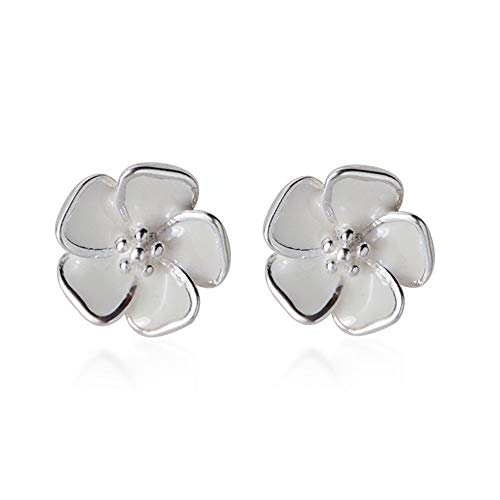 Tiny Cute Flower Cartilage Stud Earrings for Women Teen Girls Sterling Silver White Enamel Dainty Hawaiian Plumeria Cherry Blossom Jasmine Boho Flower Stud Tragus Post Earrings Hypoallergenic Jewelry