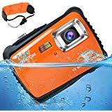 [Updated 2019 Model] AIMTOM 12MP Orange Kids Underwater Digital Waterproof Camera, Boys Girls Action Camcorder, 2