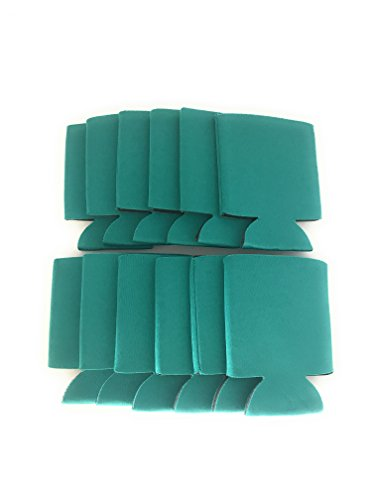 CSBD Blank Beer Can Coolers Premium Quality Soft Drink Collapsible Insulators Bulk, 12 Packs, 25 Packs, 50 Packs, Multiple Colors and Quantities (12, Teal) (Soft Cooler Drink)