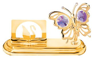 24K Gold Plated Business Card Holder With A Mini Butterfly and Purple Crystals Butterfly Business Card