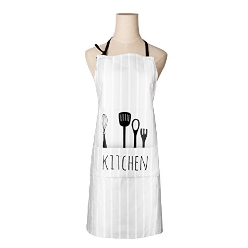 Drhob Adjustable 100% Cotton Cooking Kitchen Bib Apron with Pockets for Women Men Chef, White ()