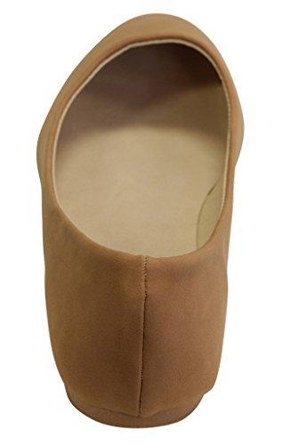 Rafraîchir Julia-62 Ballerine Décontractée Pour Femme À Lacets Bout Pointu Chaussures À Semelle Souple Tan