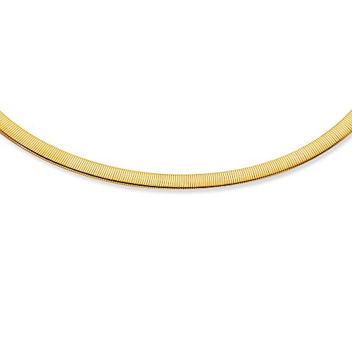 14K White and Yellow Solid Gold Reversible Omega 6mm Chain 7
