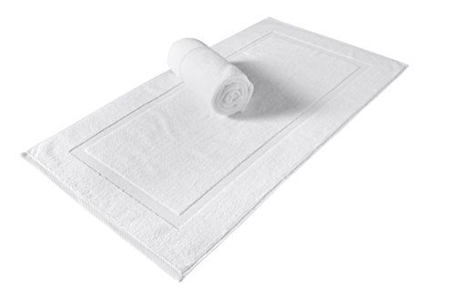 SALBAKOS Turkish Cotton Hotel & Spa Bath Mat Set, 900 GSM, 20 by 34 Inch, Pack of 2, White - Made of the coziest, combed Turkish cotton Vat-dyed for more than 6 hours to retain the bright white color Machine washable and double-stitched for durability - bathroom-linens, bathroom, bath-mats - 31 kbtfR3vL -