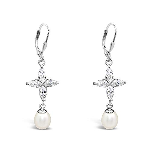 - 	925 Solid Sterling Silver Cubic Zirconia Dangle Cross Earrings-Dangling Freshwater Cultured Pearl Jewelry