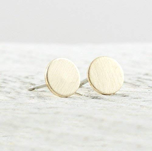 - Brushed Circle Stud Earrings In 14k Gold Filled Jewelry Gift for Women Matte Satin Finish