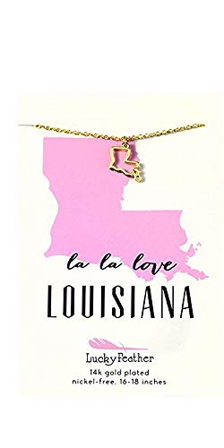 """Lucky Feather Louisiana Shaped State Necklace, 14K Gold-Dipped Pendant on Adjustable 16""""-18"""" Chain"""