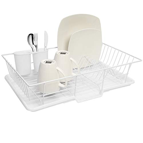 (Sweet Home Collection 3 Piece Dish Drainer Rack Set with with Drying Board and Utensil Holder, 12