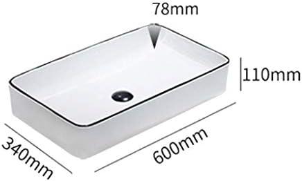 Minmin 洗面化粧台、小さなアパートの家の装飾のシンプルな黒のセラミックテーブルの洗面化粧台のバルコニー洗濯プールバスルーム洗面600x340x110mm 芸術流域 (Color : A)