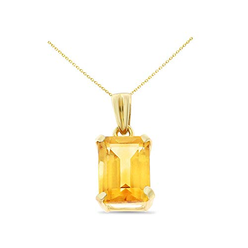 (14K Yellow Gold 6 x 8 mm. Emerald Cut Genuine Natural Citrine Pendant With Square Rolo Chain Necklace)