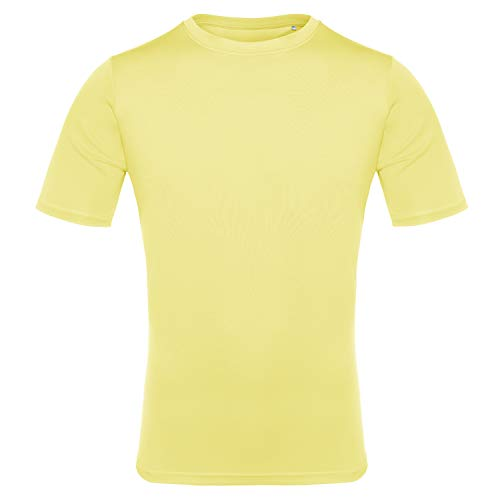 EAGEGOF Men's Tech Short Sleeve T-Shirt Dri-Fit Performance Athletic Tee Yellow L