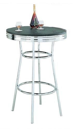 Retro Soda Fountain Style Bar Table w/Chrome Plating & Black Top
