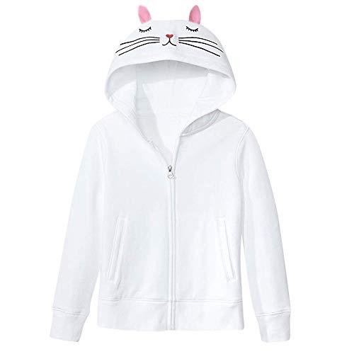 Annhoo New Women Hoodie,Cat Ear White Hoodies Women Pocket Pouch Pullover Hooded Sweatshirts Sweaters (L,White)