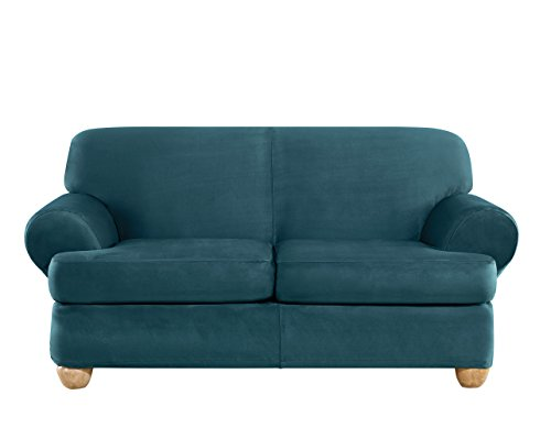 Sure Fit Ultimate Heavyweight Stretch Suede Individual 2 Piece T-Cushion Loveseat Slipcover - Peacock -