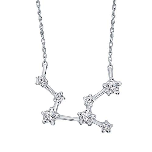 Triss Jewelry 1/5 Cttw Diamond Virgo Zodiac Sign Pendant Necklace For Women in Sterling Silver