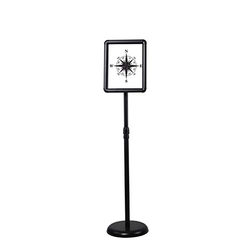 (Floor Sign Stand Adjustable Pedestal Sign Holder Stand, Poster Stand Aluminum Snap Open Frame for 8.5X11 Inches with Heavy Round Base, Both Vertical and Horizontal Sign Displayed (Black))