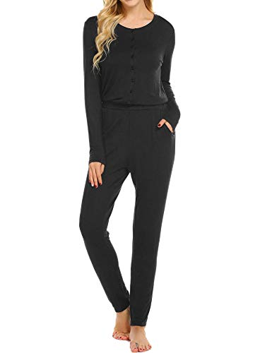 Ekouaer Women's One Piece Pajama Romper Long Sleeve Union Suit Thermal Underwear Set Jumpsuit Sleepwear, Black, XX-Large