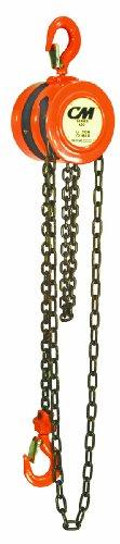 CM Series 622 Hand Chain Hoist, Hook Mount, 1 Ton Capacity, 12' Lift, 13