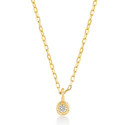 GELIN 14k Solid Gold 0,03 ct Diamond Three Beads Station Chain Necklace for Women, 18