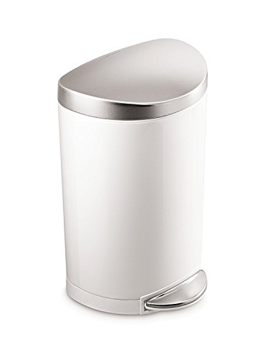 Plastic Lid Round Step (simplehuman Semi-Round Step Trash Can, White Steel, 10 L / 2.6 Gal)