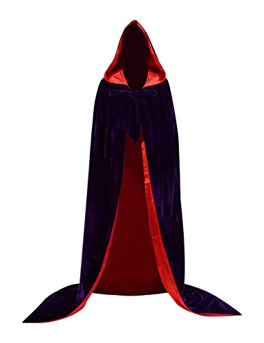 FHJQ Halloween Full Length Velvet Cloak Renaissance Medieval Wedding Cape Cosplay Costume with Lined Hood for Adults (XXL, Purple)