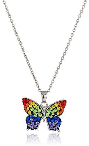 Silver Plated Crystal Rainbow Butterfly Pendant Necklace, 18
