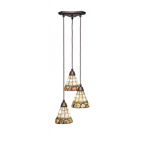 - Toltec Lighting 28-BRZ-9735 Europa 3 Multi Light Mini Pendant Shown in Bronze Finish with 7-Inch Cobblestone Tiffany Glass