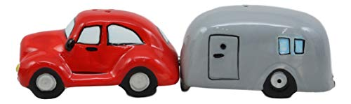 Ebros Kissing Red Vintage Car And Grey Camper Trailer Magnetic Salt And Pepper Shakers Set Ceramic Figurines Party Kitchen Tabletop Collectible Decorative Prop