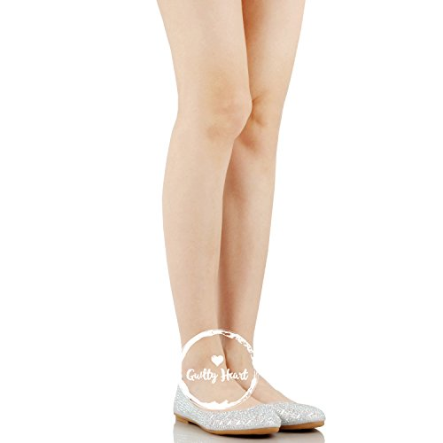 Glitter Rhinestone Guilty Flats Classic Womens Comfortable Line Stud On Heart Ballerina Ballet Silver Slip CBqfUwx0B