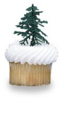 24 ct - Evergreen Trees for Cake and Cupcake Decorating (Tree Topper Plastic)