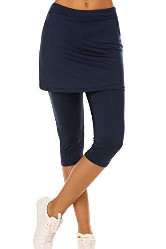 - Ekouaer Yoga Pants with Skirts for Women High Waisted Tight Skirted Leggings Navy Blue