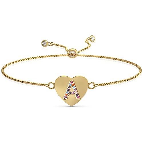 UHIBROS Heart Initial Bracelet for Women, 14K Gold Plated Love Heart Charm Monogram Bracelet , Dainty A to Z Letter Initial Bracelet for Teen Girls-A