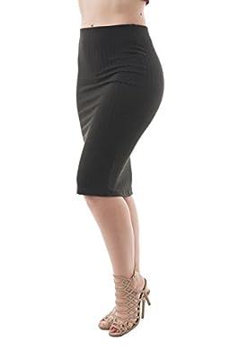 Khanomak Women's Ribbed Knit Midi Stretch Knee Length Jersey Pencil Skirt