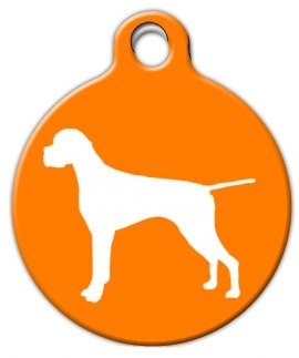(Pointer Silhouette - Custom Pet ID Tag for Dogs and Cats - Dog Tag Art - SMALL SIZE)