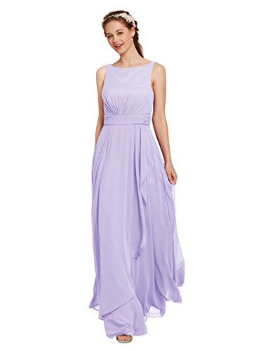 (AW Bridal Chiffon Bridesmaid Dress Long Formal Prom Party Evening Maxi Dresses Sleeveless, Lilac,)